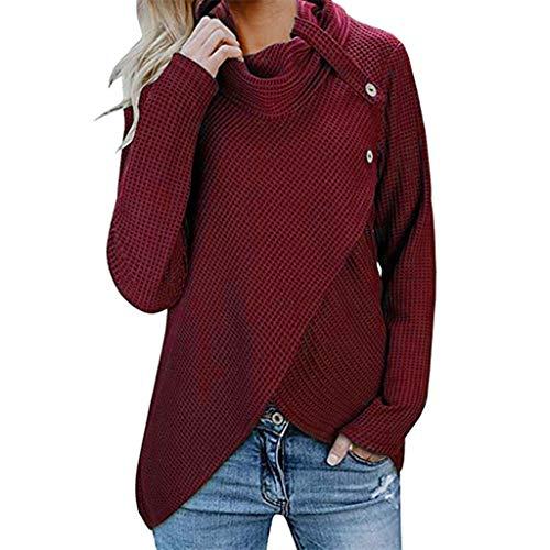 iHENGH Damen Herbst Winter Übergangs Warm Bequem Slim Mantel Lässig Stilvoll Frauen Langarm Solid Sweatshirt Pullover Tops Bluse Shirt (XXL, Wein-1)