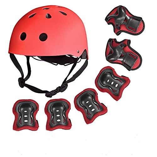 Bellanny 7 in 1 Schonerset Kinder Schützer inliner Protektoren Set Kinder Knieschoner Set mit Kinderhelm Handgelenkschoner Ellbogenschützer für Skateboard Inliner Fahrrad Rollschuh