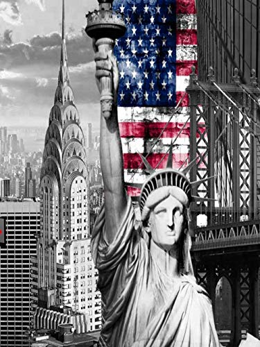 5D Kit De Pintura Con Diamante-Estatua De La Libertad Para Manualidades Punto Cuadros Dibujos Adultos Rhinestone Bordado Arte Cruzdecoración Para La Pared Del Hogar