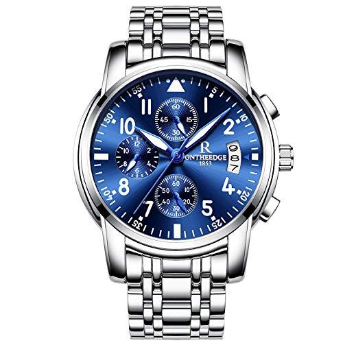 RORIOS Herren Edelstahl Uhren Analog Quarzuhr Luxus Chronograph Kalender Metallarmband Leuchtend Business wasserdichte Multifunktion Armbanduhr