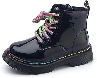 Stivali in Pelle PU Verniciata con Lacci Colorati da Bambina Ragazza Impermeabile Leggero Traspirante Antiscivolo con Fondo Morbido