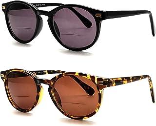 Round Plastic Bifocal Sun Reader Sunglasses for Outdoor Travel Computer Glasses for Women Men