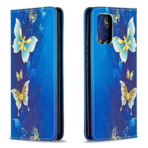 Miagon Brieftasche Hülle für Samsung Galaxy A41,Kreativ Gemalt Handytasche Case PU Leder Geldbörse mit Kartenfach Wallet Cover Klapphülle,Gold Schmetterling