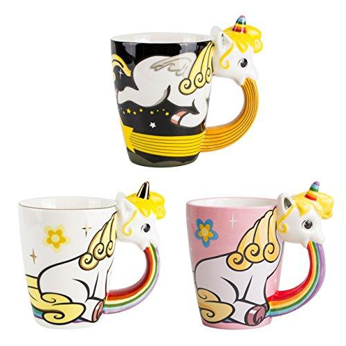 el & groove Einhorn-Tasse groß bunt in 3D, 3er Set Kaffee-Tasse 350ml (400ml randvoll), Tee-Tasse Einhorn aus Porzellan in Rosa, Weiß und Schwarz, Unicorn, Geschenkidee für Frauen Geschenk Weihnacht