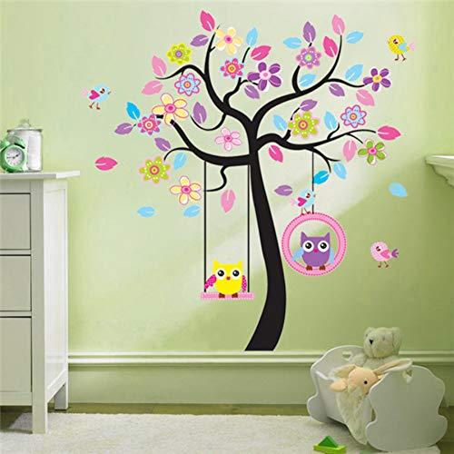 GUDOJK Muursticker Roze boom schommel uil kinderen kamer van huishoudelijke versiering muurstickers in de muur stickers op de muur