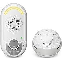"""Motorola MBP 140 - Vigilabebés audio con unidad para bebés """"plug-n-go"""" y pequeña unidad para papás portátil, modo eco y luz nocturna, color blanco"""