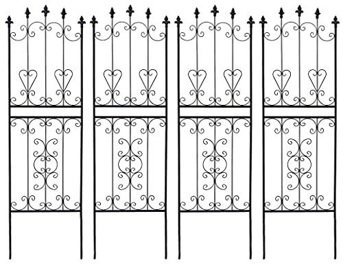ガーデンガーデン お庭をエレガントに彩る IBフェンス ローズスリム ロータイプ 幅48×高さ155cm 4枚セット ブラック アイアントレリス IBF-RSSLIM155-4P