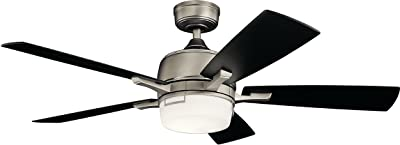 """Kichler 300457AP Leeds 52"""" Ceiling Fan with LED Light & Wall Control, Antique Pewter"""