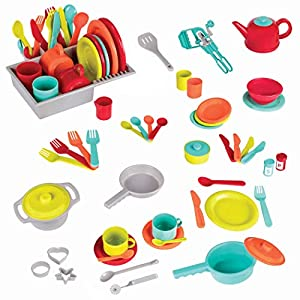 battat - deluxe kitchen - pretend play accessory toy set (71 pieces including pots & pans) - 51YEcCJk0pL - Battat – Deluxe Kitchen – Pretend Play Accessory Toy Set (71 Pieces Including Pots & Pans)