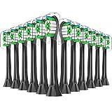 12er Qlebao Aufsteckbürsten Ersatzbürsten Kompatibel mit Philips Sonicare Elektrische Zahnbürste - Zahnbürstenaufsatz Aufsätze, Medium Bürstenköpfe, Bakterienschutz-Borsten (schwarz)
