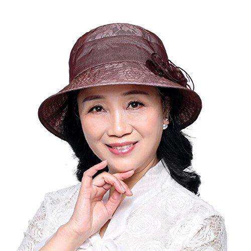 Sunny Honey Von Mittlerem Alter Und Ältere Menschen Strohhut  Frauen-Masken-Hut Eleganter Edler UV-Schutz (Farbe : Fuchsia)