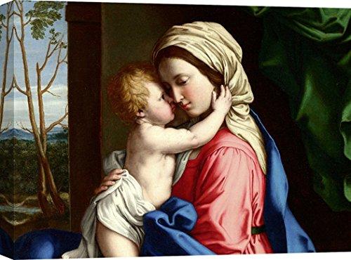 Art Print Cafe - Cuadro - Impresion sobre Lienzo - Sassoferrato, La Virgen y el Niño Abrazar (Detalle) - 120x90 cm