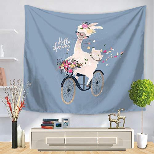 YUANOMWJ Tapiz De Pared,Bicicleta Flores Lindas Animal De Alpaca, Tapiz De Mandala Hippie Hippy Celestial Indio Trippy Bohemio Tapices, 75X90Cm
