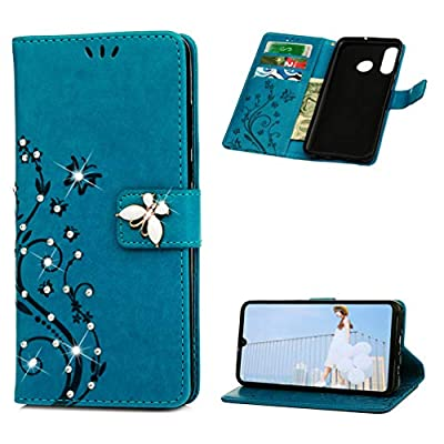Huawei P30 Lite Case 3D Bling Crystal Diamonds PU Leather Wallet Flip Case Magnetic Bumper Cover Glitter Sparkly Flowers Butterfly with Card Slots Stand Protective Case for Huawei P30 Lite - Blue