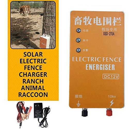 Jjsm 10KM Solar Electric Fence Energizer Charger XSD-270A Controlador de cercado eléctrico de Pulso de Alto Voltaje para Granja avícola Animal (Tipo Ordinario, Pantalla sin Voltaje)