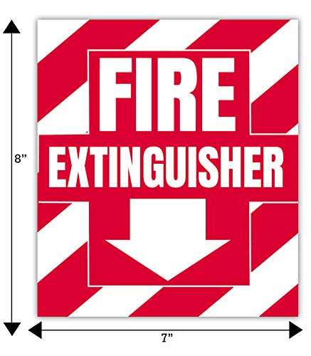 Fire Extinguisher Sign Sticker Bracket Wall Mount - Pack of 3 Self Adhesive Decals Weatherproof UV Protected AND 3 10-15 lb Hooks
