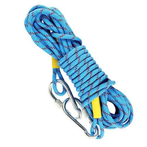 Abaodam Cuerda de escalada al aire libre de 12 mm de diámetro estático resistente amarre con gancho ajustable correa de equipaje cuerda de escape para bicicletas Tie Down Tie Pull Swing Climb Knot
