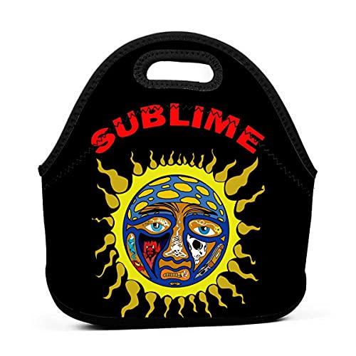 Sublime Sun Lunch Bag Bolsa portátil Bento Bolsa Bolsa de almuerzo Multifuncional Cremallera Paquete para la Escuela de Trabajo Oficina Bolso para la Escuela Oficina, color Negro, talla Talla