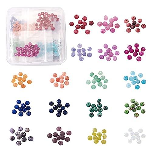 Cheriswelry 450 cuentas de jade redondas facetadas naturales de 4 mm, 18 colores, pequeñas piedras preciosas de Rondelle, para bricolaje, joyas, pulseras, manualidades, agujero: 1 mm