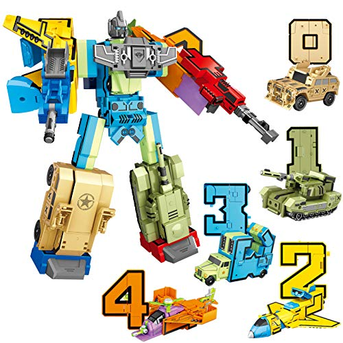SNAEN 10 in 1 Digit Robot Action Figure Toy Numbers Transform into Vehicles Included Battleplane, Tank, Helicopter, Cargo Truck, Assault Vehicle, 5 Can Combine into 1 Big Fighting Robot with Weapons