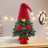 Mini Christmas Tree - Prelit Small Gnomes Xmas Decorations - Includes Tiny Multicolor LED Lights - Artificial Table Top Trees - Holiday Tabletop Decor