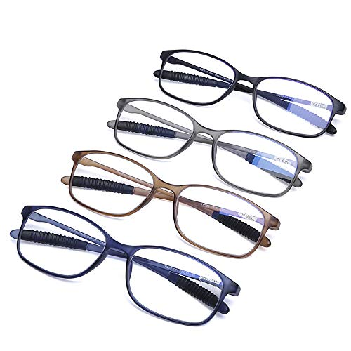AQWANO 4 Pairs Computer Reading Glasses Blue Light Blocking Lightweight Flexible TR90 Unbreakable UV Protection Readers for Women Men, 3.5 10 Pair Reading Glasses