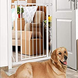 ALLAIBB Extra Wide Pressure Mount Baby Gate Auto Close White Metal Child Dog Pet Safety Gates with Walk Through for Stairs,Doorways,Kitchen and Living Room 24.02-76.38 in