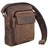 STILORD 'Jannis' Leder Umhängetasche Männer klein Vintage Messenger Bag Herren-Tasche Tablettasche für 9.7 Zoll iPad Schultertasche aus echtem Leder, Farbe:Colorado - braun - 3