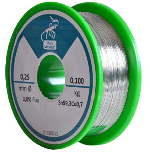 Lötzinn mit Flussmittel / 100g Spule/Lötzinn bleifrei/deutscher Anbieter (0,25mm)