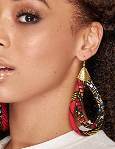 Ankara African Earrings Africa Earrings Unique Chunky Earrings Ankara Print Earrings Afrocentric product image