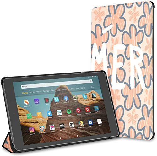 Ultra Thin Folding Case Compatible with 10.1' Amazon Fire HD 10 Tablet (9th/7th Generation,2019/2017 Release),Cover with Auto Wake/Sleep Floral Text Summer Colorful