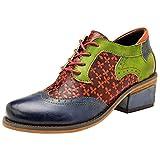 Mallimoda Femme Derbies Rétro Patchwork Chaussures en Cuir Colorée Bottines avec Talon Bleu Marine EU 41/42=Asian 42