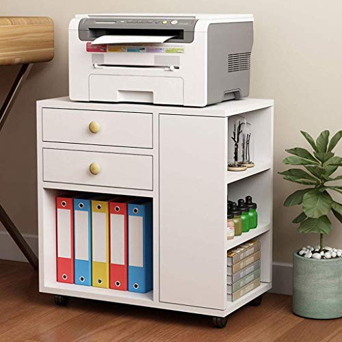 Daily Equipment Escritorio Mainframe Estante de almacenamiento Carrito de madera con ruedas para impresora Soporte para máquina con 2 cajones Mesa auxiliar Mesita de noche Gabinete multifuncional p