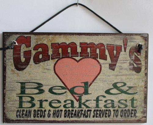 5 X 8 Style Vintage Sign avec Cœur Dicton,Gammy de Bed & Breakfast Nettoyer Lits et Hot Petit Déjeuner Servi sur Commande. Décoratifs Fun Universel Ménagers Signes à partir de Egbert de trésors