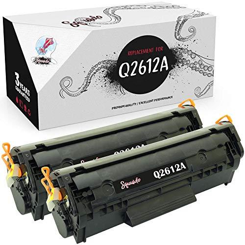 Squuido 2 Cartuchos de tóner Q2612A compatibles para HP Laserjet 1010 1012 1015 1018 1020 1022 1022n 1022nw 3010 3015 3020 3030 3050 3052 3055 M1005 MFP M1319f MFP | Alto Rendimiento 2000 páginas