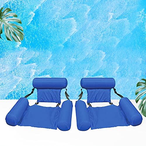 Cama flotante portátil plegable hinchable para piscina, cama de playa, deportes náuticos, tumbona para adultos y niños (2 paquetes azul)