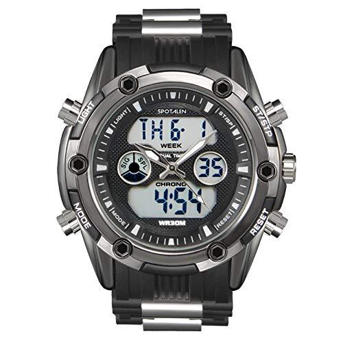 Herren-Sportuhr Analog-Digital wasserdichte Uhren für Mann Military Chronograph Stoppuhr Classic Silikonband Schwarz