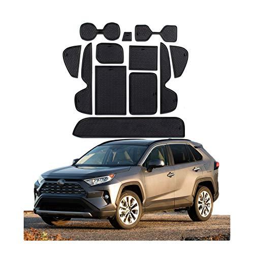 CDEFG für Toyota RAV4 MK5 2019 Auto Innere Türschlitz rutschfest Anti-Staub Becherhalter Matte Arm Box Aufbewahrung Pads (Schwarz)