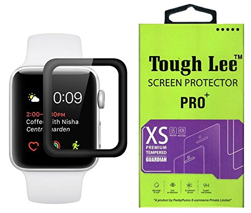 Tough Lee Tempered Glass Screen Guard Gorilla Protector for Apple Watch Series 1 38 mm with Easy Installation Kit (Edge to Edge Full Screen Coverage) (Black) (Pack of 1)