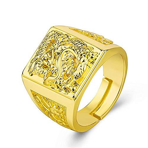 Keai Heren opening ring bully gouden draak gepreegd messing vergulde 24k gouden sieraden