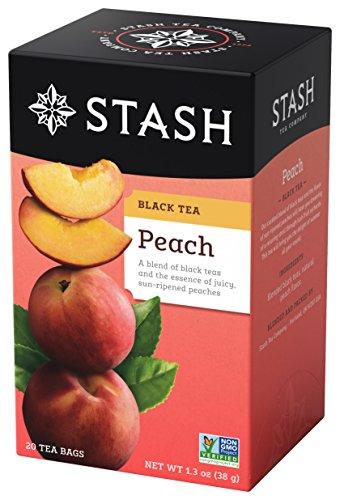 Stash Tea Peach Black Tea, 6 Boxes With 20 Tea Bags Each (120 Tea Bags Total)