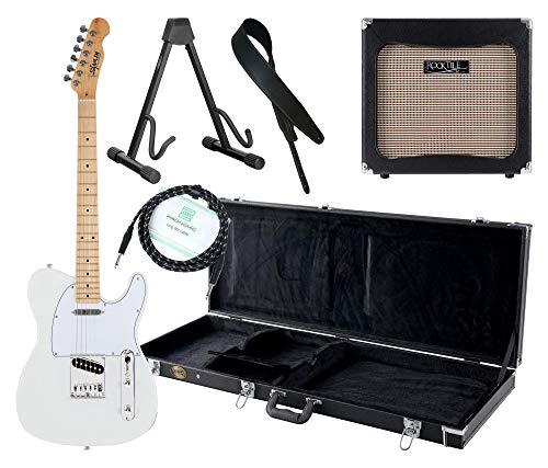 Shaman Element Series TCX-100W Komplett Set - E-Gitarre - Modeling-Verstärker - Koffer - Ledergurt - Ständer - Kabel - Weiß