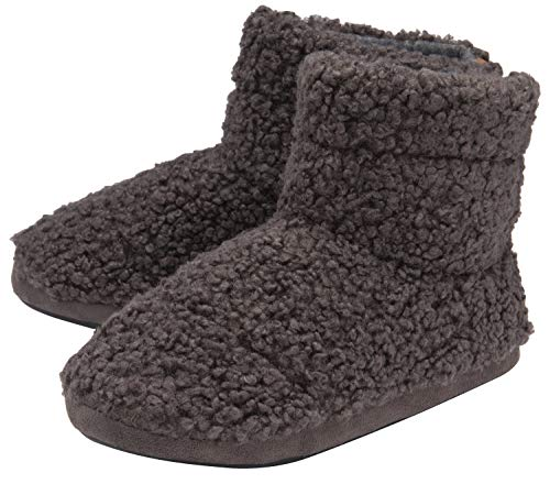 Dunlop Mens Winter Warm Memory Foam Indoor Furry Boot Slippers with Rubber Sole (8 US, Charcoal)