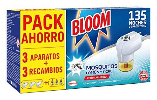 Bloom Insecticida Eléctrico Líquido Contra Mosquitos Común y Tigre - 3 Aparatos + 3 Recambios