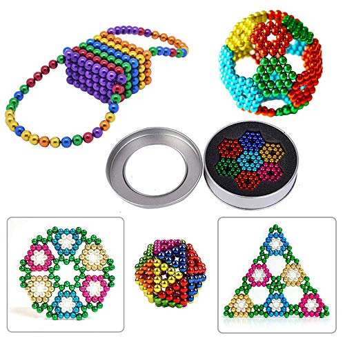 LONEEDY Set of 216 Magnets Building Blocks Fidget Gadget Toys,Fun Stress Relief Desk Toy for Adults (216pcs-8colors)