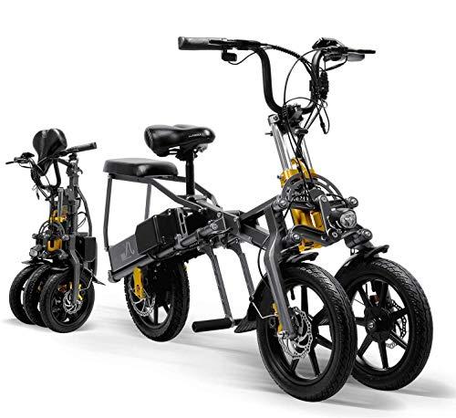 CHHD Triciclo eléctrico para Adultos Mini Scooter eléctrico Plegable de Tres Ruedas para Bicicleta de montaña hasta 30 km 25 km/h Batería de Litio Tres Modos de Velocidad Ruedas Grand