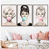 QINGRENJIE Audrey Hepburn Kaugummi Wandkunst Leinwand Mode