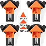 Corner Clamps for Woodworking Set of 4, 90 Degree Right Angle Clamp Also Support 60° and 120°, Adjustable Corner Square Clamping Jig Kit for Picture Framing, Welding, Drawer, Carpentry