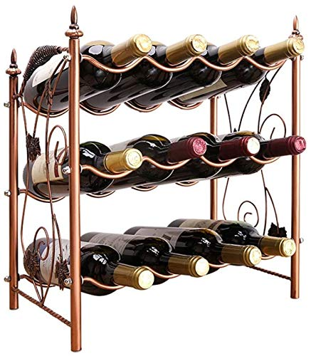 TUHFG Botellero de vino de 3 capas apilable, diseño moderno de uva, de metal, de pie, para 12 botellas de vino, 42 x 23 x 46,5 cm, almacenamiento