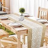 GLCS GLAUCUS 5 Stück Jute Tischläufer mit Weiß Spitze, Weihnachten Winter Juteband Spitzenband 30*275 cm Vintage Tischdekoration Tischband für Hochzeit, Fest, Party - 3